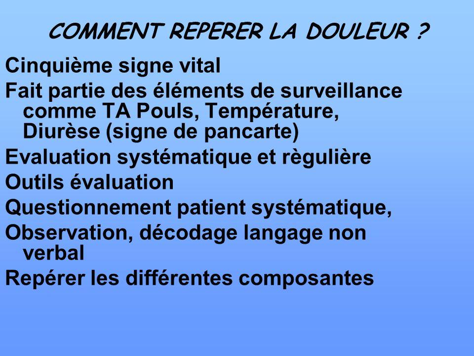 COMMENT REPERER LA DOULEUR ? Cinquième signe vital Fait partie des éléments de surveillance comme TA Pouls, Température, Diurèse (signe de pancarte) E