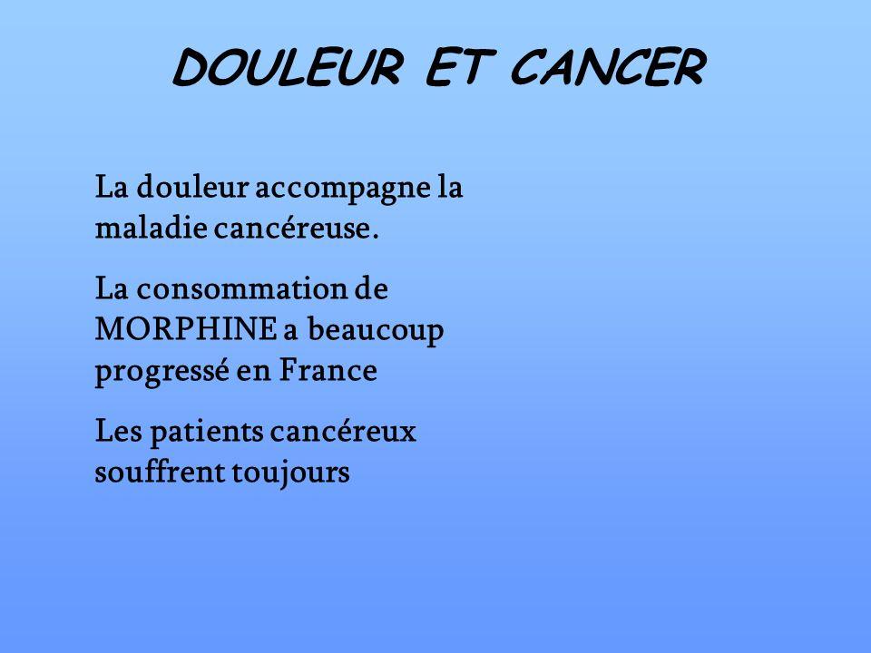 DOULEUR ET CANCER La douleur accompagne la maladie cancéreuse. La consommation de MORPHINE a beaucoup progressé en France Les patients cancéreux souff