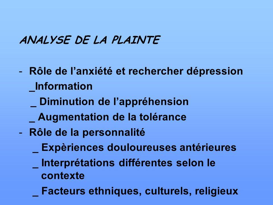 ANALYSE DE LA PLAINTE -Rôle de lanxiété et rechercher dépression _Information _ Diminution de lappréhension _ Augmentation de la tolérance -Rôle de la