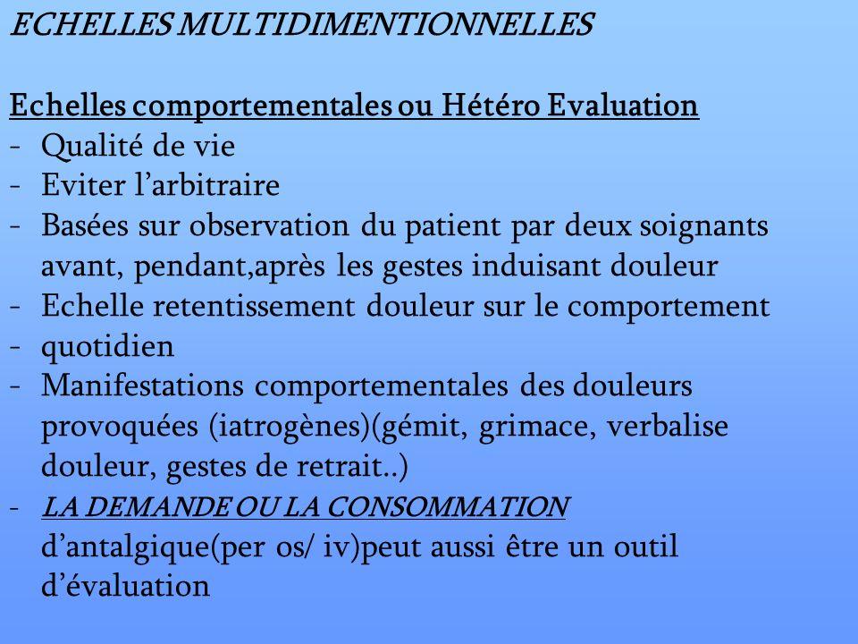 ECHELLES MULTIDIMENTIONNELLES Echelles comportementales ou Hétéro Evaluation -Qualité de vie -Eviter larbitraire -Basées sur observation du patient pa