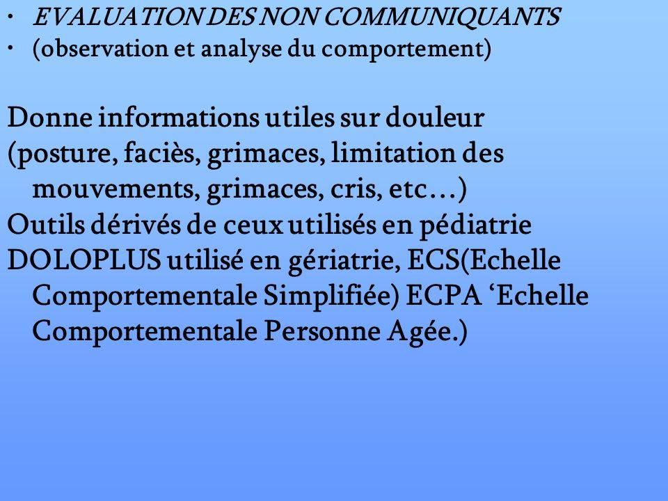 EVALUATION DES NON COMMUNIQUANTS (observation et analyse du comportement) Donne informations utiles sur douleur (posture, faciès, grimaces, limitation