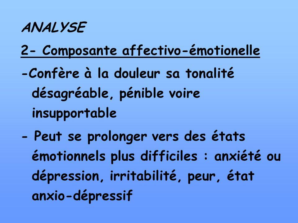 ANALYSE 2- Composante affectivo-émotionelle -Confère à la douleur sa tonalité désagréable, pénible voire insupportable - Peut se prolonger vers des ét