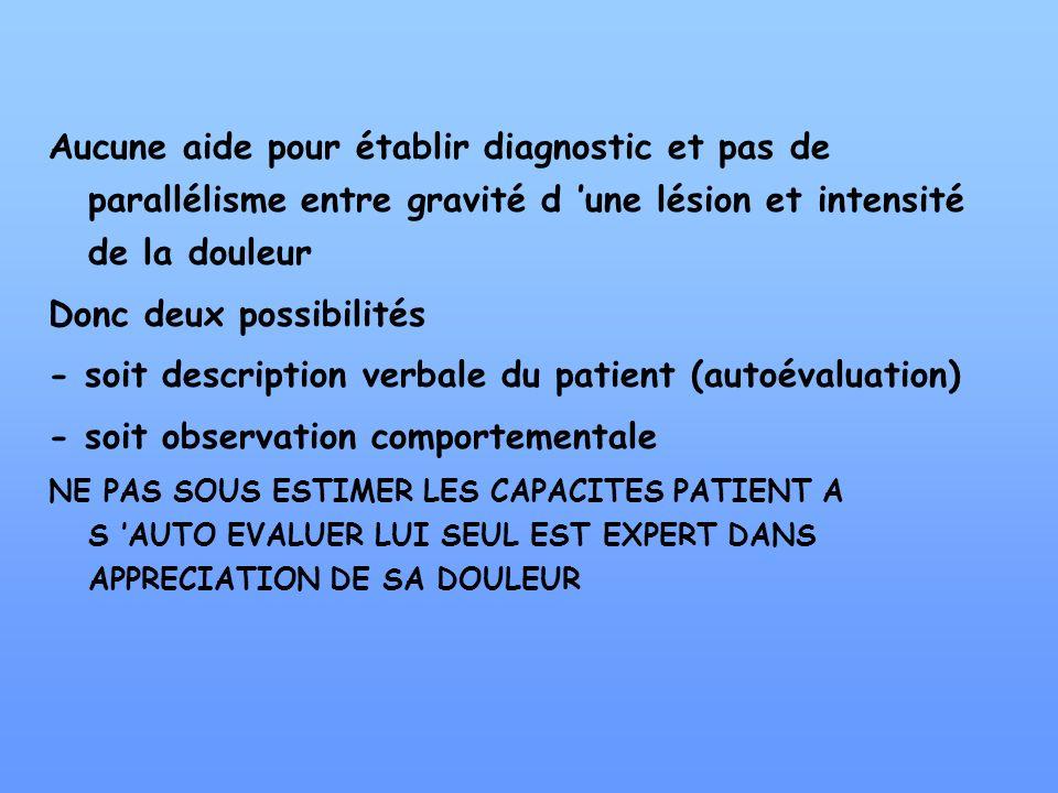 Aucune aide pour établir diagnostic et pas de parallélisme entre gravité d une lésion et intensité de la douleur Donc deux possibilités - soit descrip