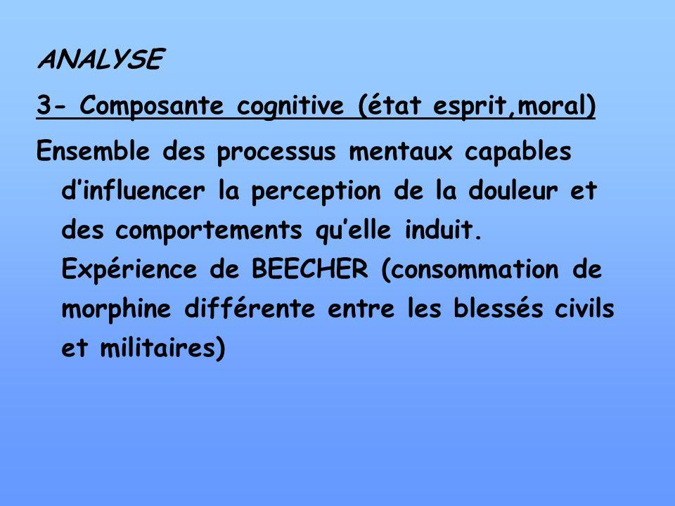 ANALYSE 3- Composante cognitive (état esprit,moral) Ensemble des processus mentaux capables dinfluencer la perception de la douleur et des comportemen
