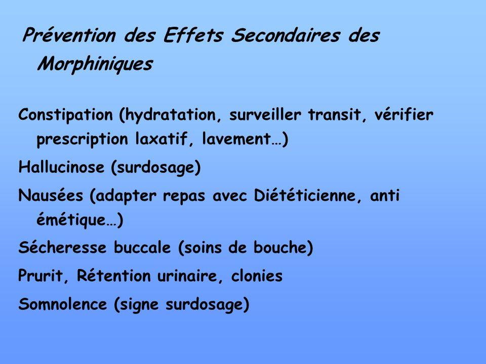 Prévention des Effets Secondaires des Morphiniques Constipation (hydratation, surveiller transit, vérifier prescription laxatif, lavement…) Hallucinos