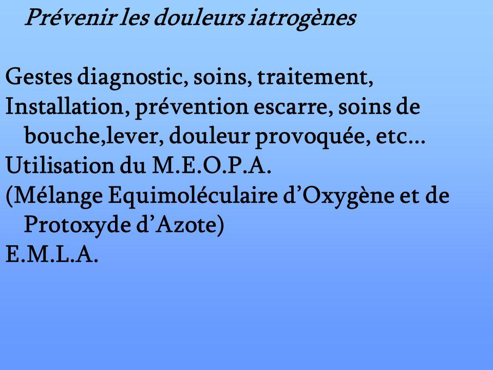 Prévenir les douleurs iatrogènes Gestes diagnostic, soins, traitement, Installation, prévention escarre, soins de bouche,lever, douleur provoquée, etc