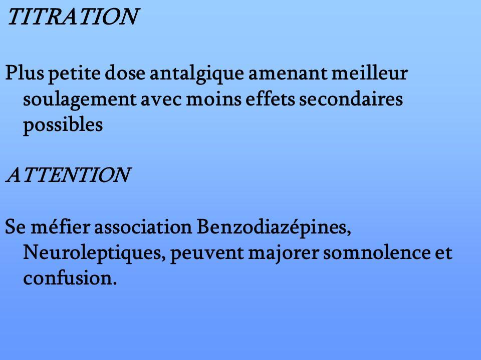TITRATION Plus petite dose antalgique amenant meilleur soulagement avec moins effets secondaires possibles ATTENTION Se méfier association Benzodiazép