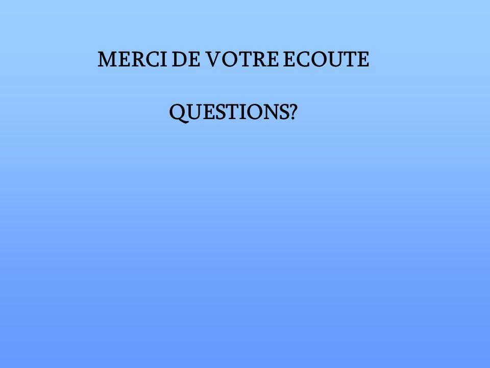 MERCI DE VOTRE ECOUTE QUESTIONS?