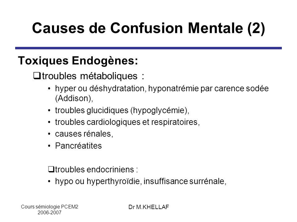 Cours sémiologie PCEM2 2006-2007 Dr M.KHELLAF Causes de Confusion Mentale (2) Toxiques Endogènes: troubles métaboliques : hyper ou déshydratation, hyp