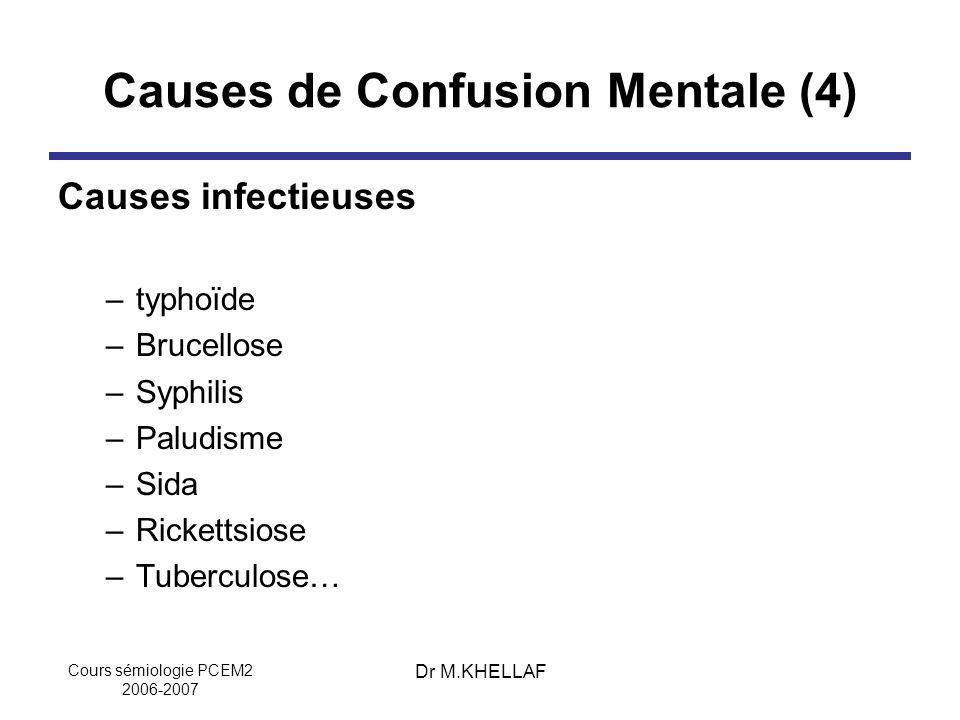 Cours sémiologie PCEM2 2006-2007 Dr M.KHELLAF Causes de Confusion Mentale (4) Causes infectieuses –typhoïde –Brucellose –Syphilis –Paludisme –Sida –Ri