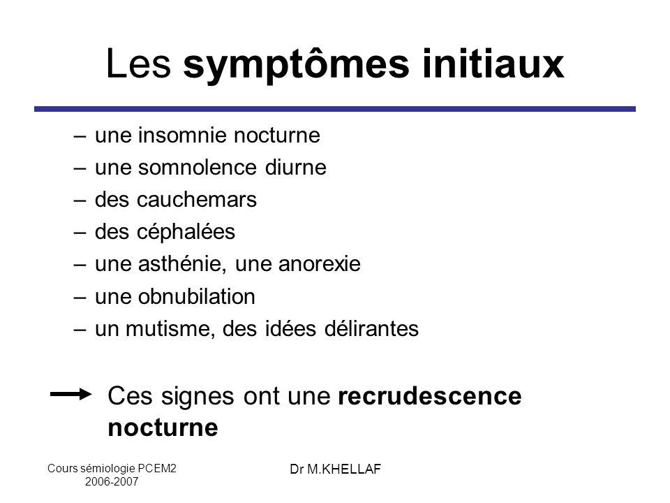 Cours sémiologie PCEM2 2006-2007 Dr M.KHELLAF Les symptômes initiaux –une insomnie nocturne –une somnolence diurne –des cauchemars –des céphalées –une