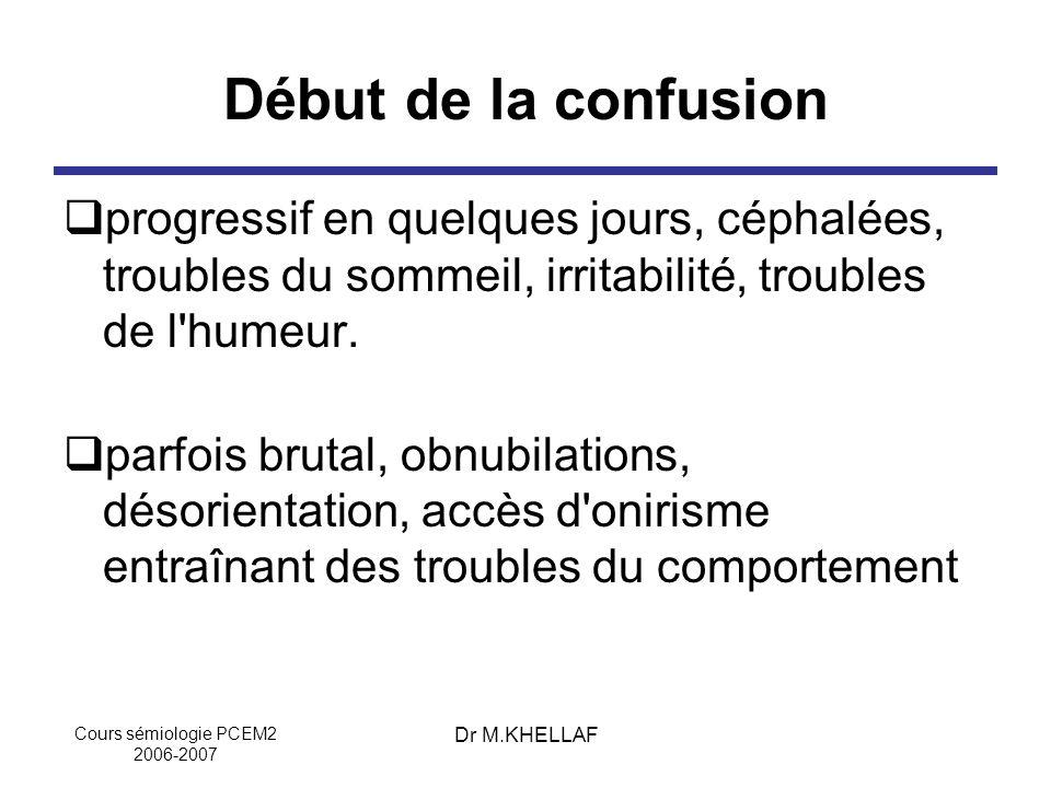 Cours sémiologie PCEM2 2006-2007 Dr M.KHELLAF Début de la confusion progressif en quelques jours, céphalées, troubles du sommeil, irritabilité, troubl