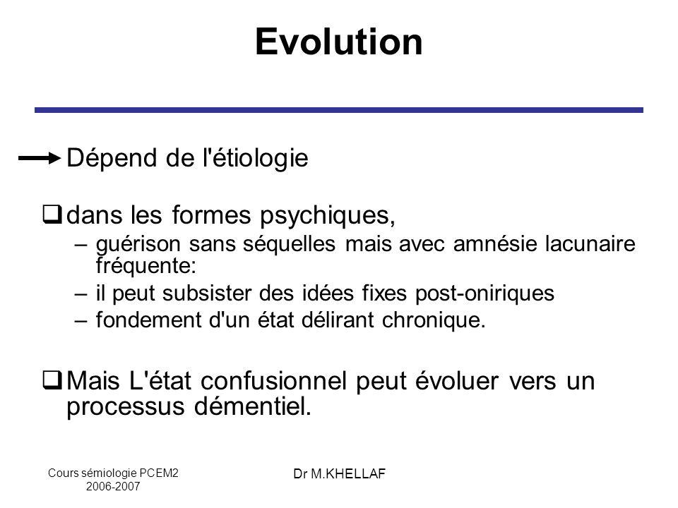 Cours sémiologie PCEM2 2006-2007 Dr M.KHELLAF Evolution Dépend de l'étiologie dans les formes psychiques, –guérison sans séquelles mais avec amnésie l