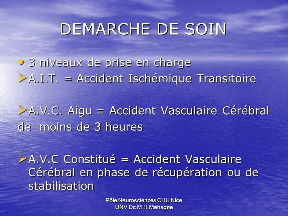 DEMARCHE DE SOIN 3 niveaux de prise en charge 3 niveaux de prise en charge A.I.T. = Accident Ischémique Transitoire A.I.T. = Accident Ischémique Trans