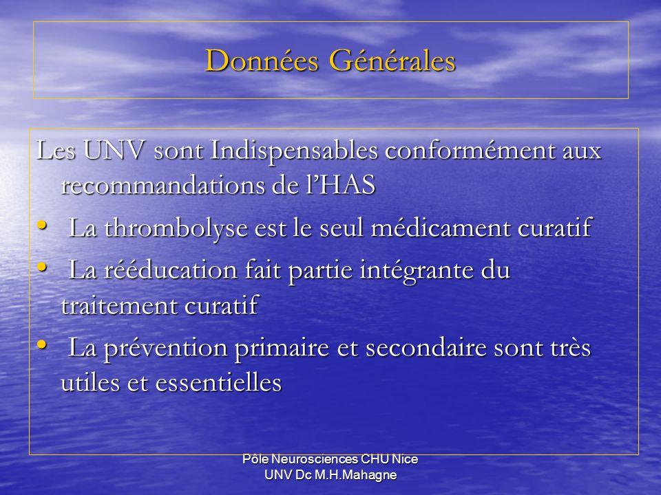 Pôle Neurosciences CHU Nice UNV Dc M.H.Mahagne Données Générales Les UNV sont Indispensables conformément aux recommandations de lHAS La thrombolyse e