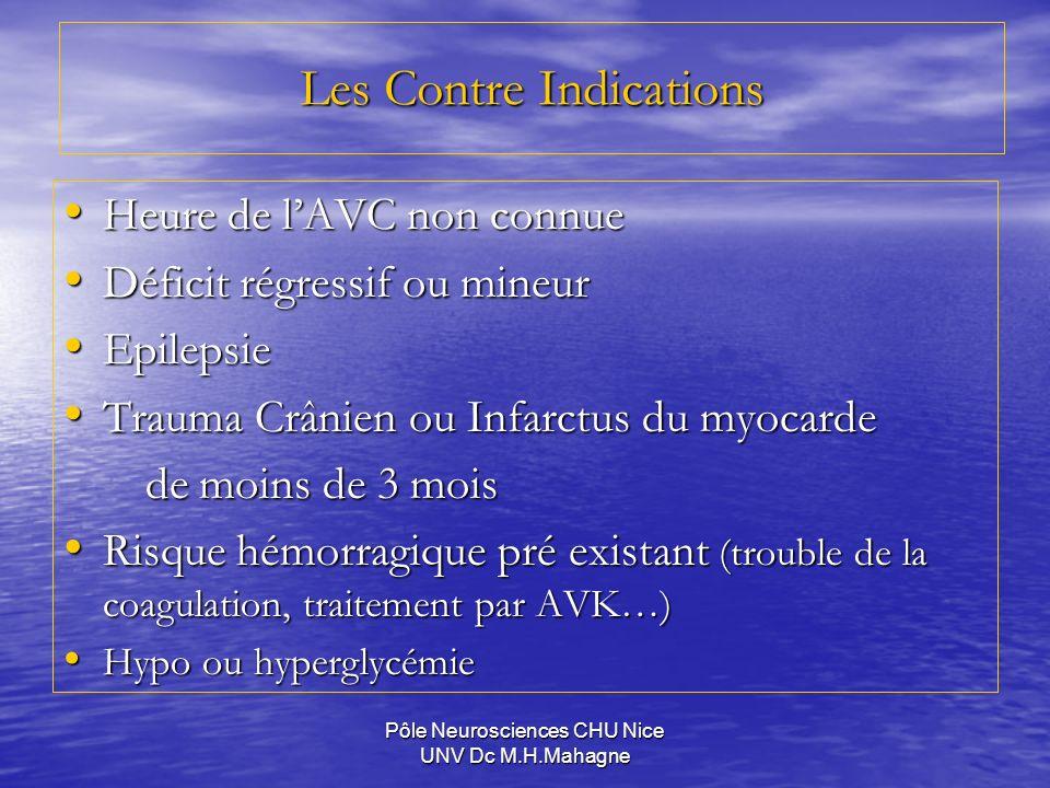 Pôle Neurosciences CHU Nice UNV Dc M.H.Mahagne Les Contre Indications Heure de lAVC non connue Heure de lAVC non connue Déficit régressif ou mineur Dé
