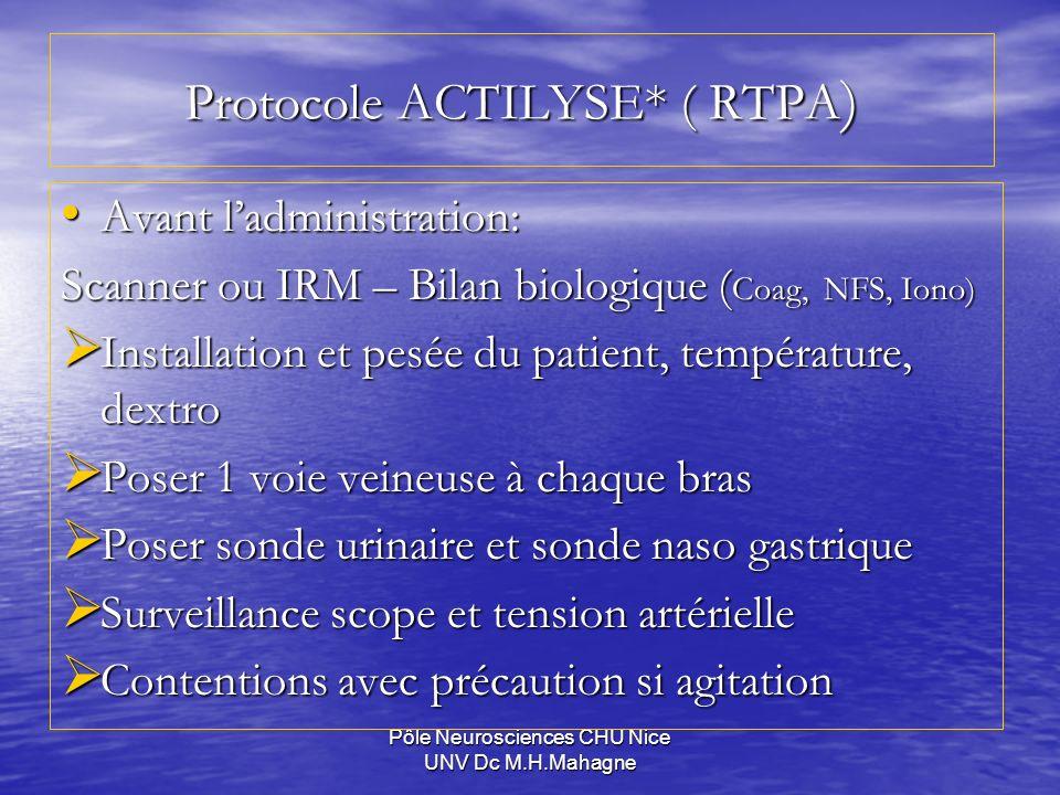 Pôle Neurosciences CHU Nice UNV Dc M.H.Mahagne Protocole ACTILYSE* ( RTPA ) Avant ladministration: Avant ladministration: Scanner ou IRM – Bilan biolo