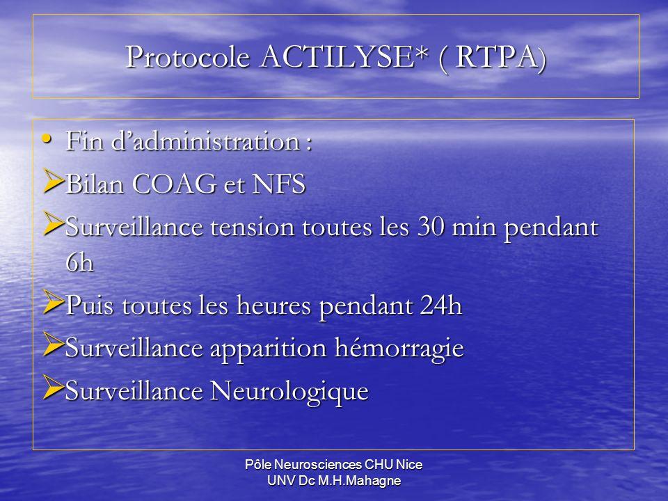 Pôle Neurosciences CHU Nice UNV Dc M.H.Mahagne Protocole ACTILYSE* ( RTPA ) Fin dadministration : Fin dadministration : Bilan COAG et NFS Bilan COAG e