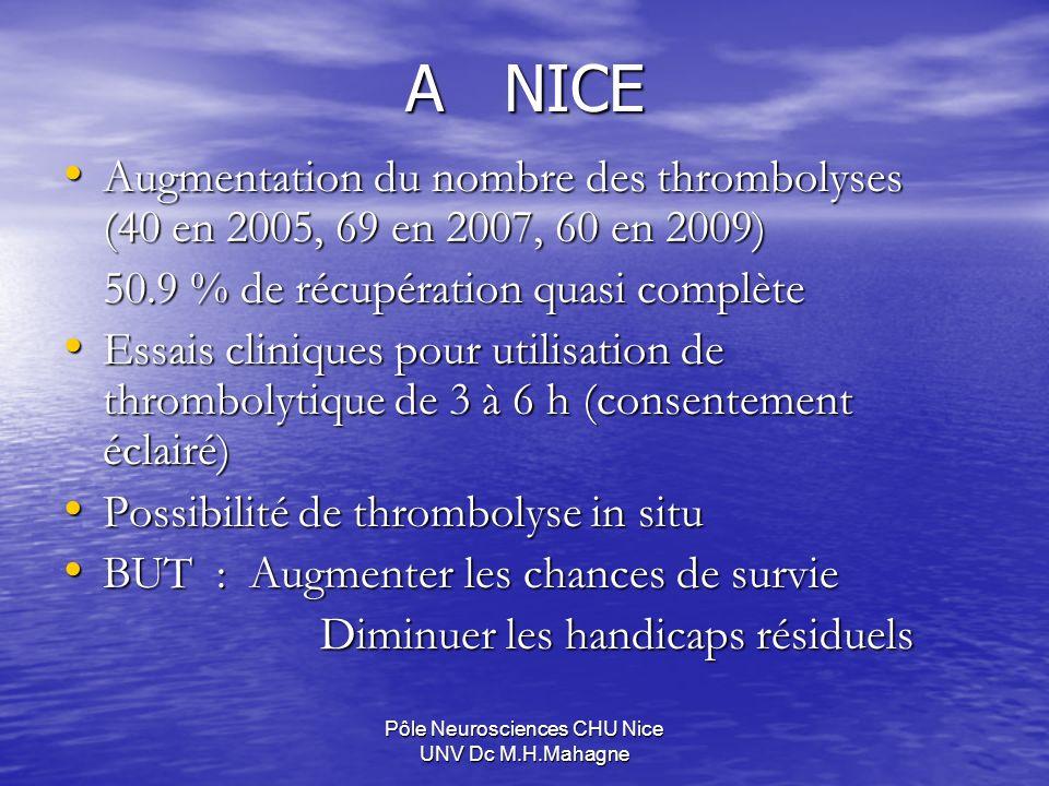 A NICE Augmentation du nombre des thrombolyses (40 en 2005, 69 en 2007, 60 en 2009) Augmentation du nombre des thrombolyses (40 en 2005, 69 en 2007, 6