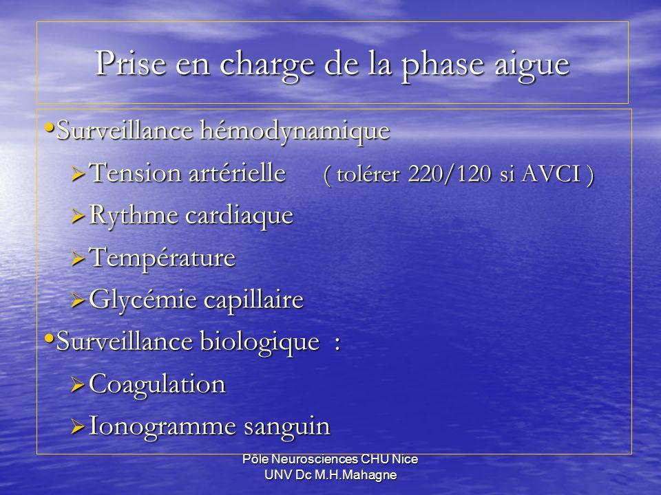 Pôle Neurosciences CHU Nice UNV Dc M.H.Mahagne Prise en charge de la phase aigue Surveillance hémodynamique Surveillance hémodynamique Tension artérie