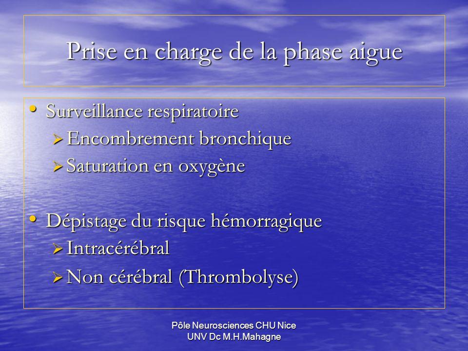 Pôle Neurosciences CHU Nice UNV Dc M.H.Mahagne Prise en charge de la phase aigue Surveillance respiratoire Surveillance respiratoire Encombrement bron