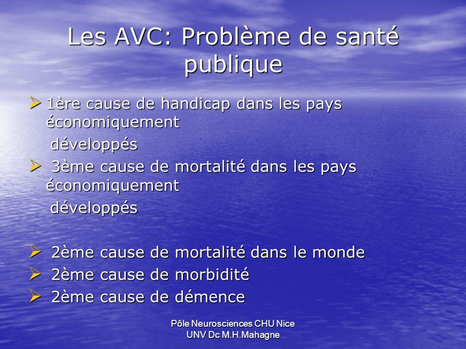 Les AVC: Problème de santé publique 1ère cause de handicap dans les pays économiquement 1ère cause de handicap dans les pays économiquement développés