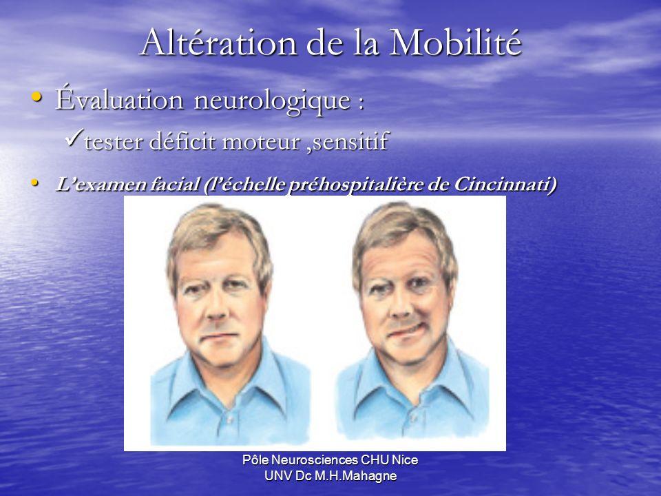 Pôle Neurosciences CHU Nice UNV Dc M.H.Mahagne Évaluation neurologique : Évaluation neurologique : tester déficit moteur,sensitif tester déficit moteu