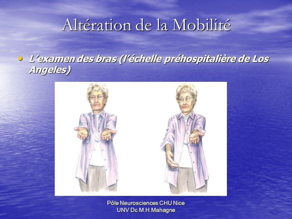 Pôle Neurosciences CHU Nice UNV Dc M.H.Mahagne Altération de la Mobilité Lexamen des bras (léchelle préhospitalière de Los Angeles) Lexamen des bras (