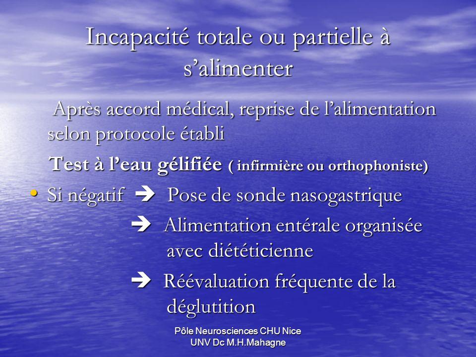 Pôle Neurosciences CHU Nice UNV Dc M.H.Mahagne Incapacité totale ou partielle à salimenter Après accord médical, reprise de lalimentation selon protoc