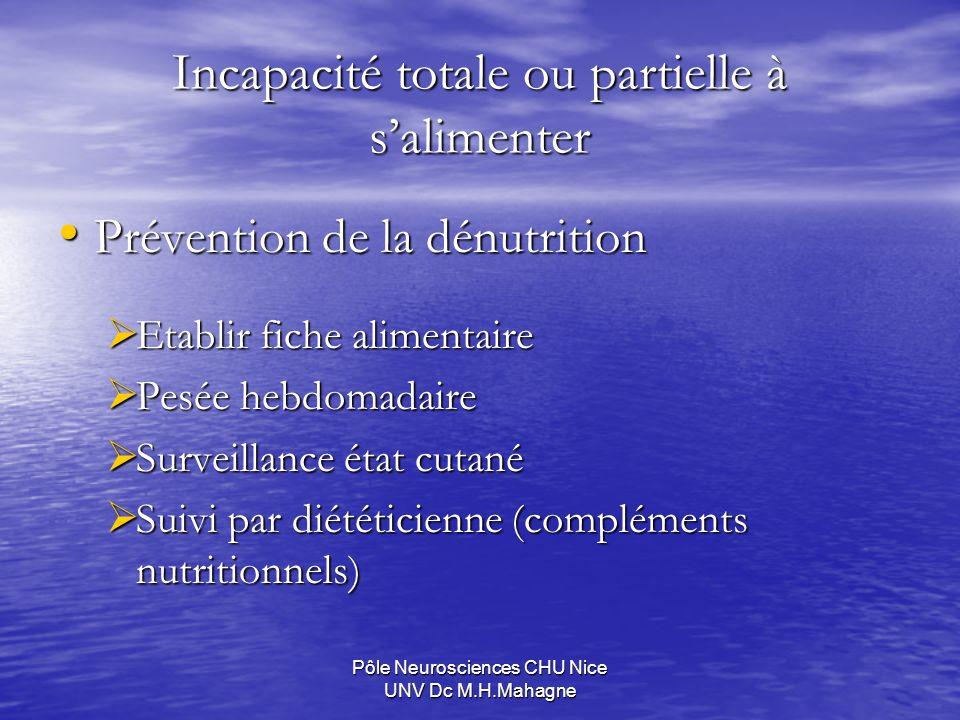 Pôle Neurosciences CHU Nice UNV Dc M.H.Mahagne Incapacité totale ou partielle à salimenter Prévention de la dénutrition Prévention de la dénutrition E