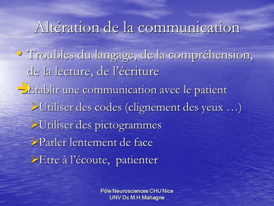 Pôle Neurosciences CHU Nice UNV Dc M.H.Mahagne Altération de la communication Troubles du langage, de la compréhension, de la lecture, de lécriture Tr