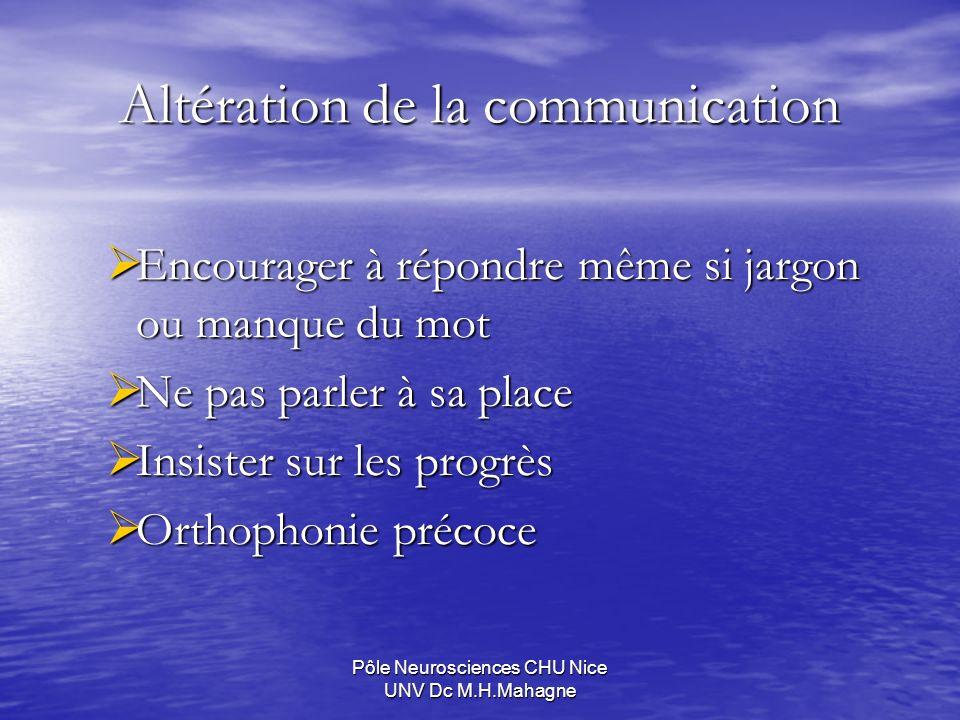 Pôle Neurosciences CHU Nice UNV Dc M.H.Mahagne Altération de la communication Encourager à répondre même si jargon ou manque du mot Encourager à répon