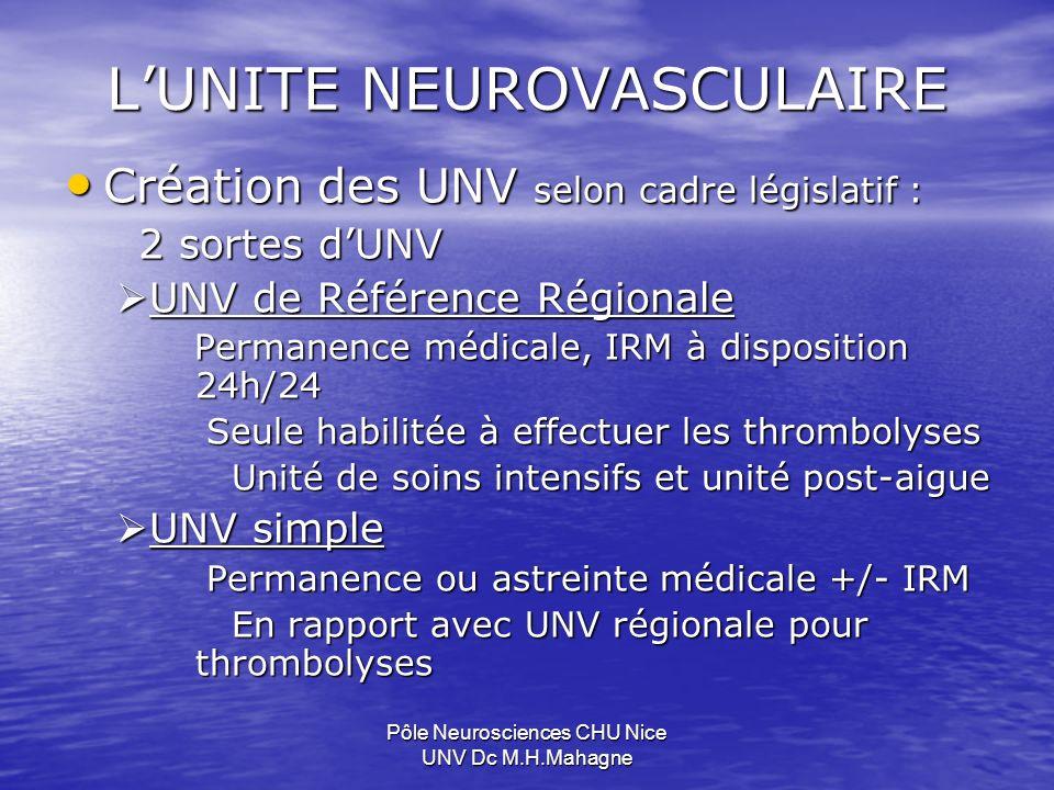 Pôle Neurosciences CHU Nice UNV Dc M.H.Mahagne UNV et THROMBOLYSE