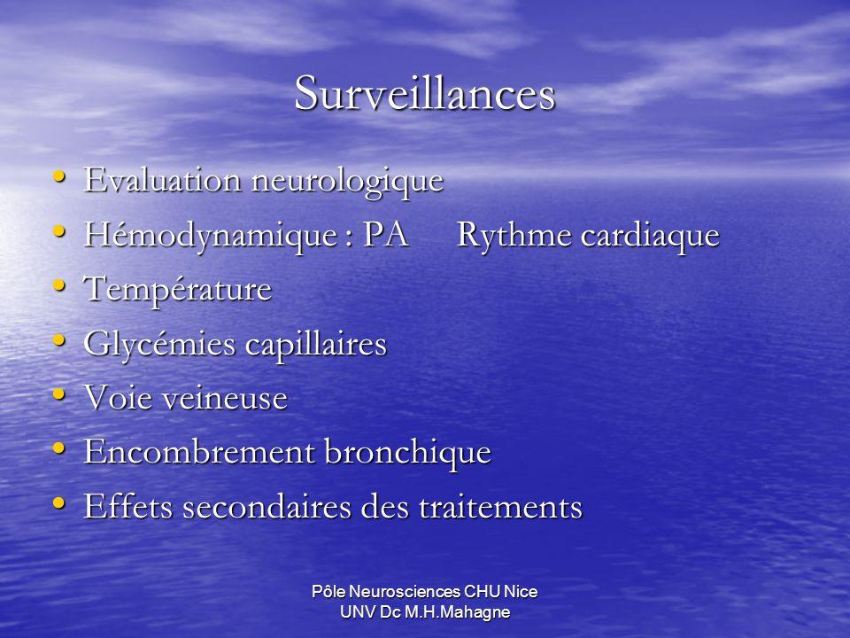 Pôle Neurosciences CHU Nice UNV Dc M.H.Mahagne Surveillances Evaluation neurologique Evaluation neurologique Hémodynamique : PA Rythme cardiaque Hémod