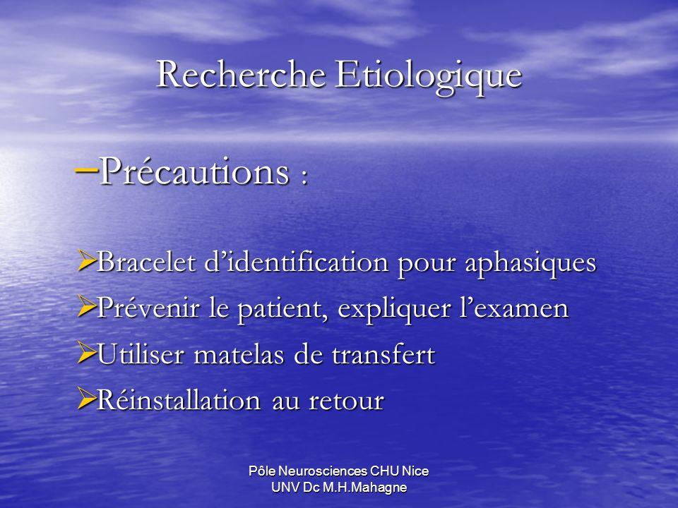 Pôle Neurosciences CHU Nice UNV Dc M.H.Mahagne Recherche Etiologique – Précautions : Bracelet didentification pour aphasiques Bracelet didentification