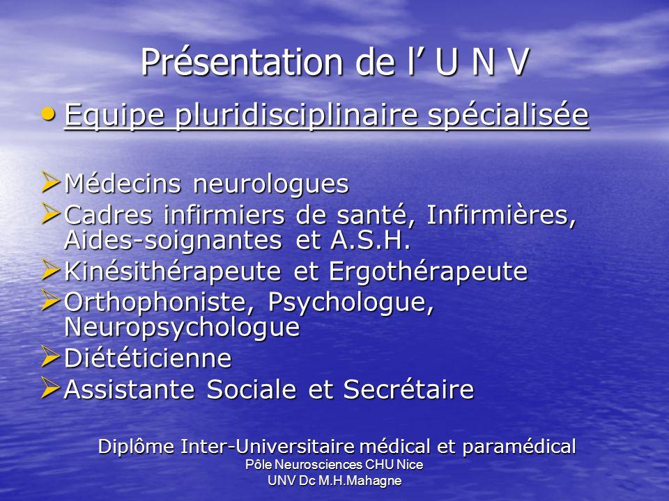 Présentation de l U N V Equipe pluridisciplinaire spécialisée Equipe pluridisciplinaire spécialisée Médecins neurologues Médecins neurologues Cadres i