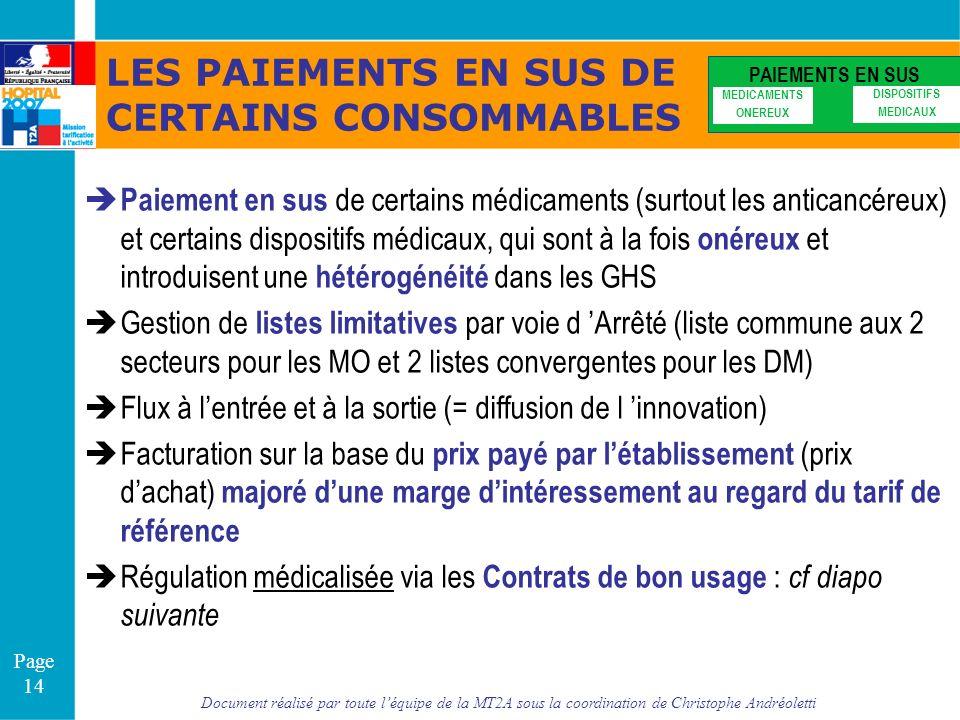 Document réalisé par toute léquipe de la MT2A sous la coordination de Christophe Andréoletti Page 14 LES PAIEMENTS EN SUS DE CERTAINS CONSOMMABLES PAI