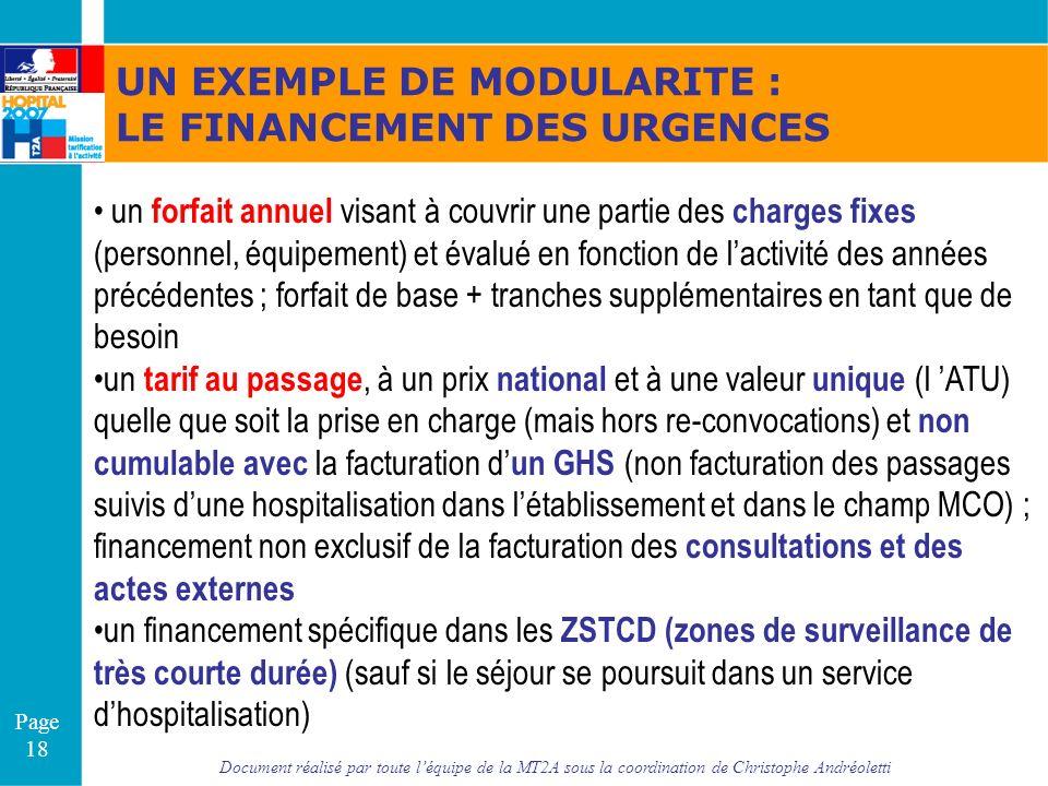 Document réalisé par toute léquipe de la MT2A sous la coordination de Christophe Andréoletti Page 18 UN EXEMPLE DE MODULARITE : LE FINANCEMENT DES URG