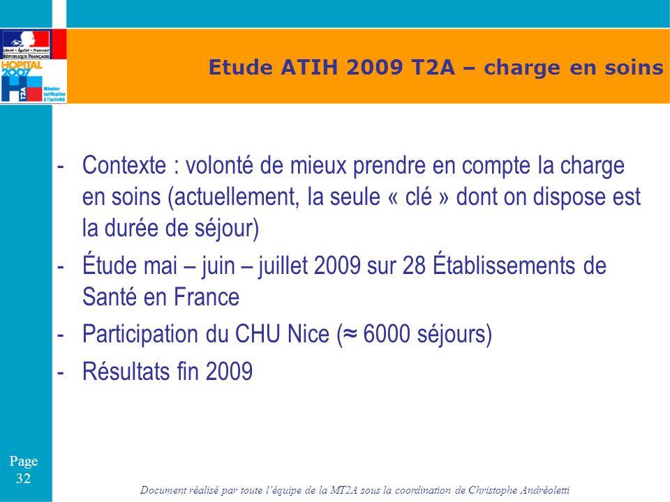 Document réalisé par toute léquipe de la MT2A sous la coordination de Christophe Andréoletti Page 32 Etude ATIH 2009 T2A – charge en soins -Contexte :