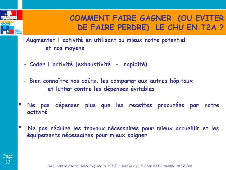 Document réalisé par toute léquipe de la MT2A sous la coordination de Christophe Andréoletti Page 33 COMMENT FAIRE GAGNER (OU EVITER DE FAIRE PERDRE)