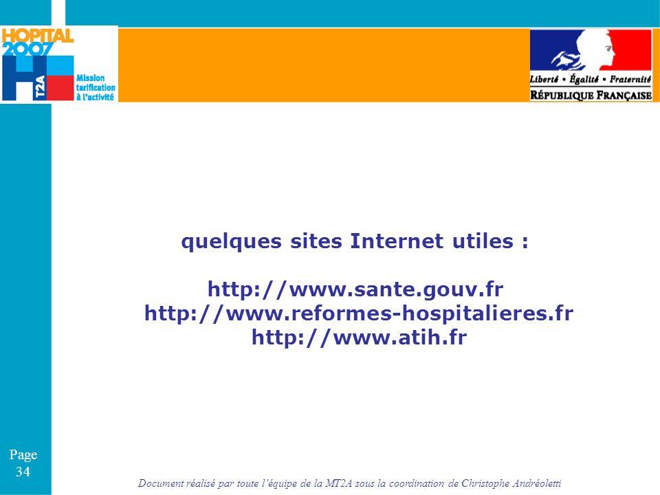 Document réalisé par toute léquipe de la MT2A sous la coordination de Christophe Andréoletti Page 34 quelques sites Internet utiles : http://www.sante
