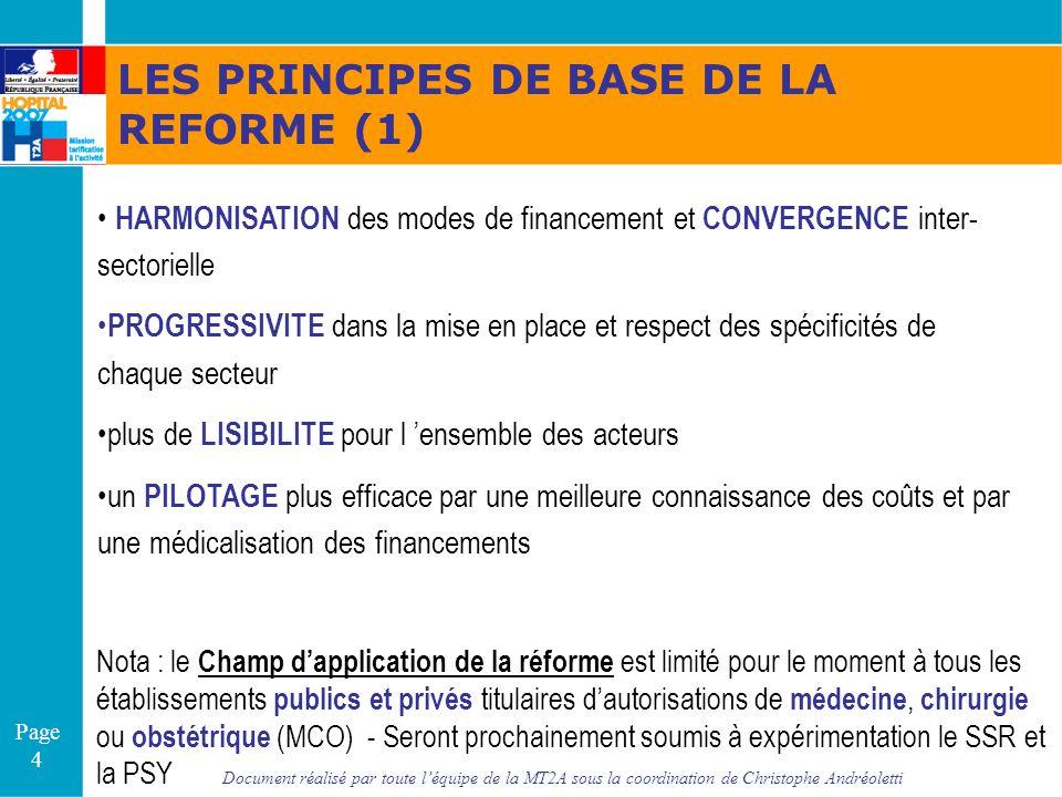 Document réalisé par toute léquipe de la MT2A sous la coordination de Christophe Andréoletti Page 4 LES PRINCIPES DE BASE DE LA REFORME (1) HARMONISAT