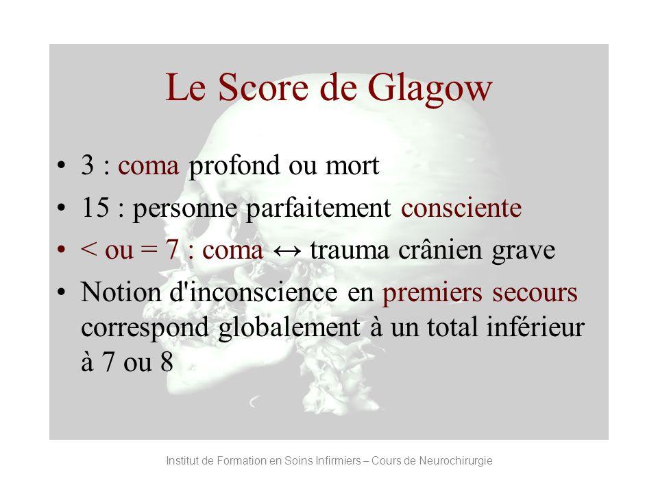 Le Score de Glagow 3 : coma profond ou mort 15 : personne parfaitement consciente < ou = 7 : coma trauma crânien grave Notion d'inconscience en premie