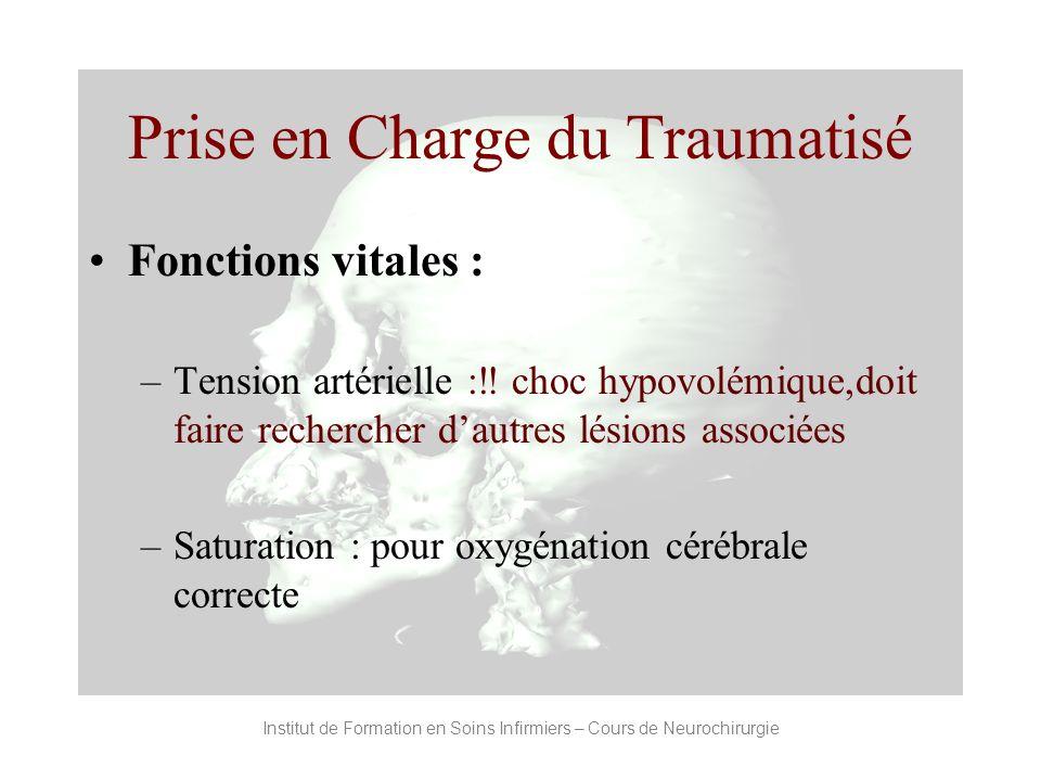 Prise en Charge du Traumatisé Fonctions vitales : –Tension artérielle : choc hypovolémique,doit faire rechercher dautres lésions associées –Saturation