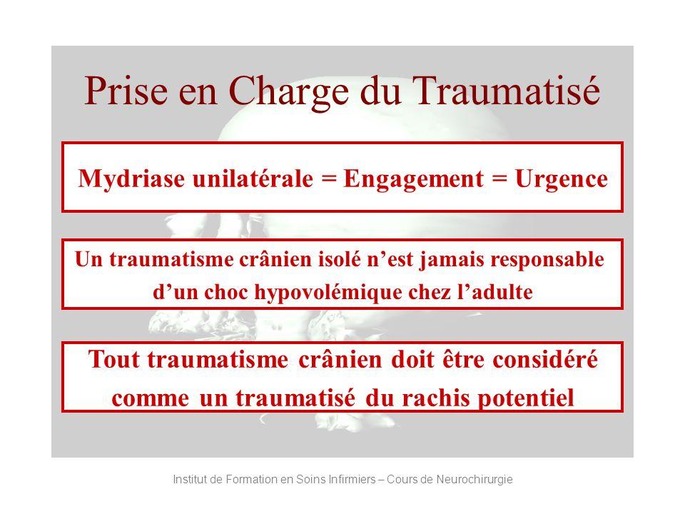 Prise en Charge du Traumatisé Mydriase unilatérale = Engagement = Urgence Un traumatisme crânien isolé nest jamais responsable dun choc hypovolémique