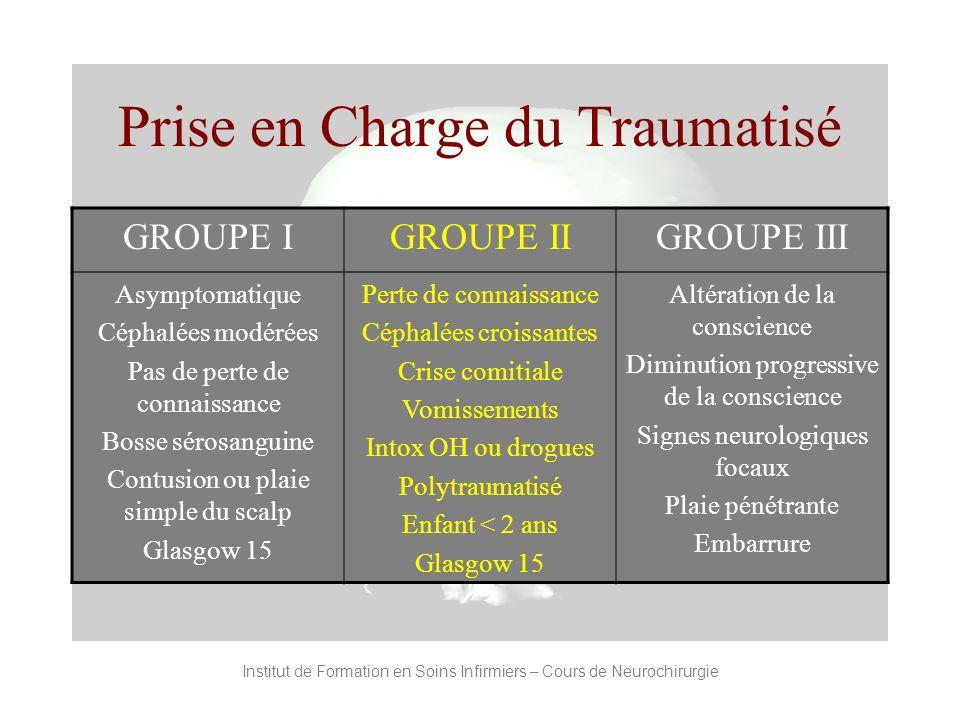 Institut de Formation en Soins Infirmiers – Cours de Neurochirurgie Prise en Charge du Traumatisé GROUPE IGROUPE IIGROUPE III Asymptomatique Céphalées