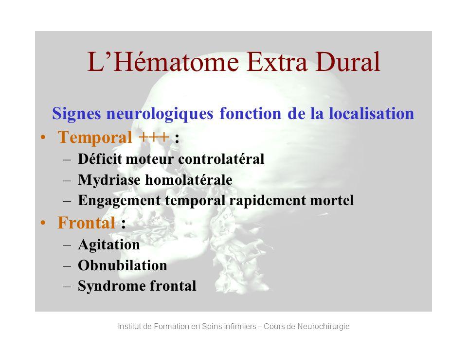 Institut de Formation en Soins Infirmiers – Cours de Neurochirurgie LHématome Extra Dural Signes neurologiques fonction de la localisation Temporal ++