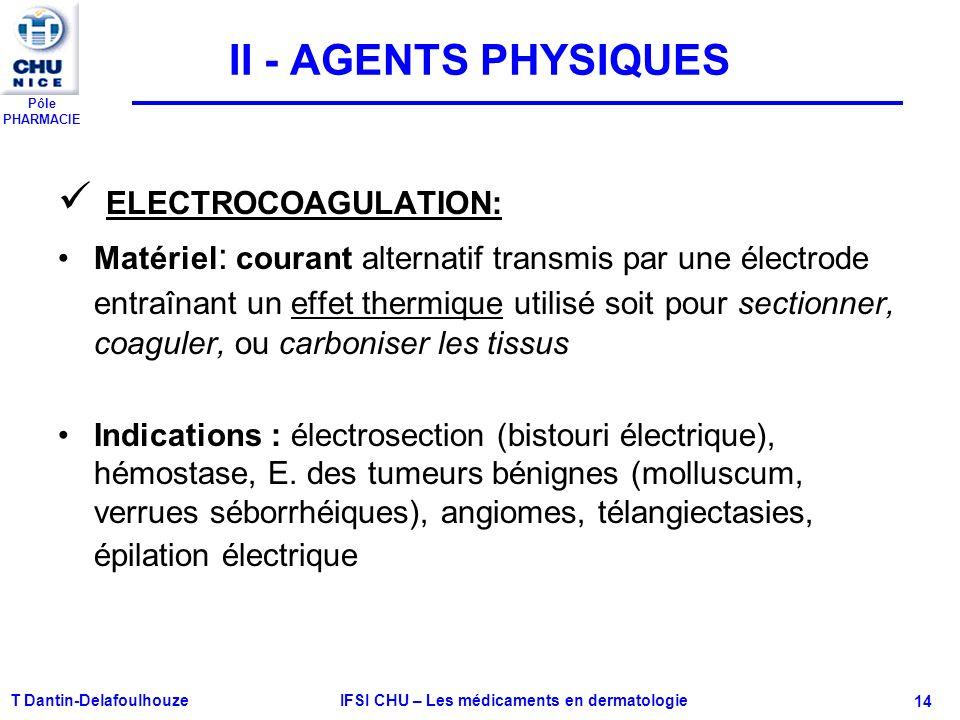 Pôle PHARMACIE T Dantin-Delafoulhouze IFSI CHU – Les médicaments en dermatologie - 14 II - AGENTS PHYSIQUES ELECTROCOAGULATION: Matériel : courant alt