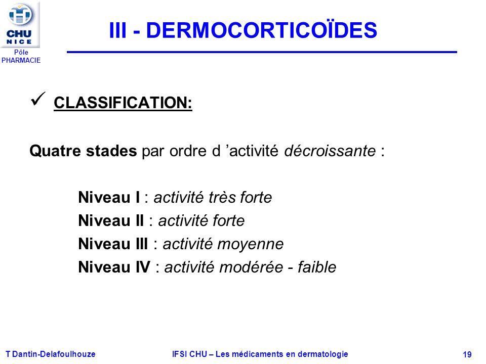 Pôle PHARMACIE T Dantin-Delafoulhouze IFSI CHU – Les médicaments en dermatologie - 19 III - DERMOCORTICOÏDES CLASSIFICATION: Quatre stades par ordre d