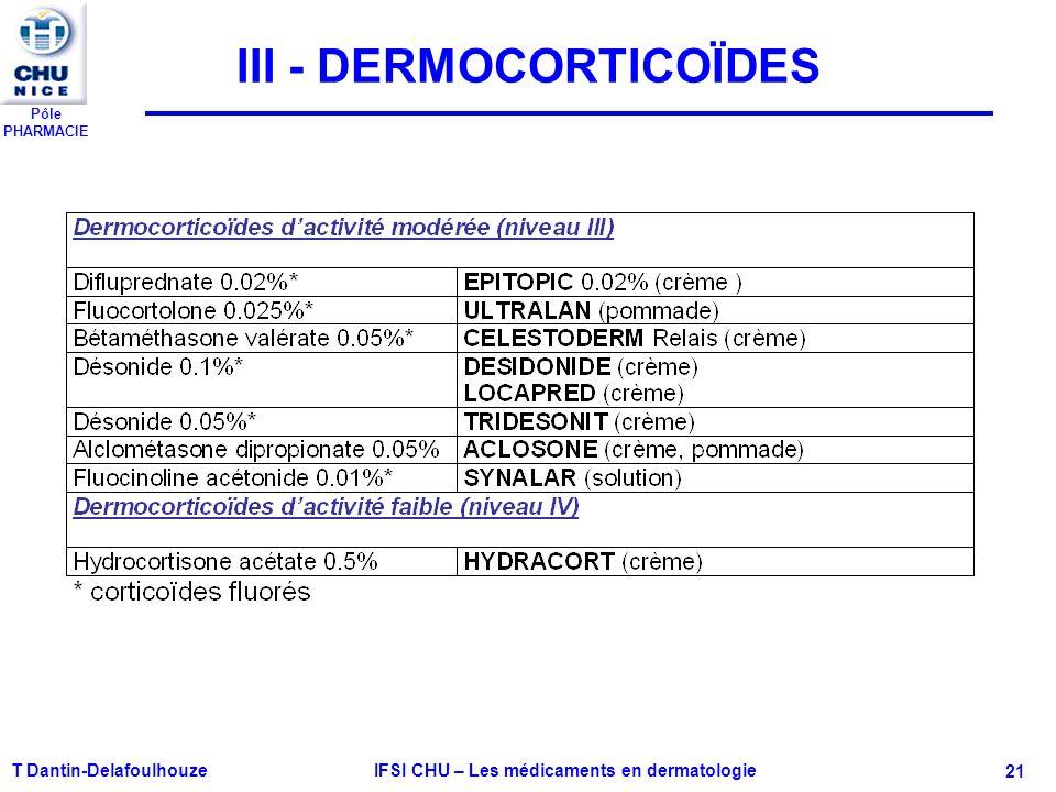 Pôle PHARMACIE T Dantin-Delafoulhouze IFSI CHU – Les médicaments en dermatologie - 21 III - DERMOCORTICOÏDES